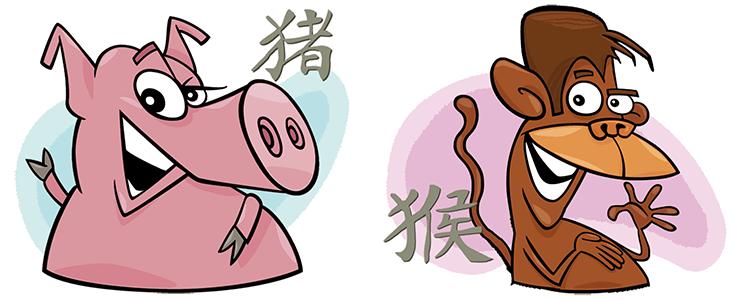 Schwein und Affe Partner Horoskop