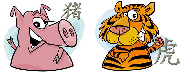 Schwein und Tiger Partner Horoskop