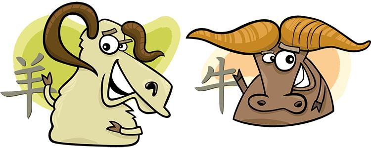 Chinesisches sternzeichen ziege mann und büffel frau