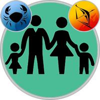 Schütze-Kind und Krebs-Elternteil