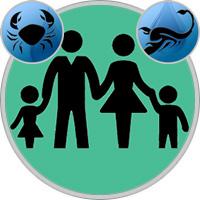 Skorpion-Kind und Krebs-Elternteil