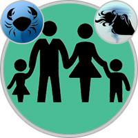 Wassermann-Kind und Krebs-Elternteil