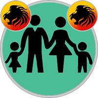 Löwe-Kind und Löwe-Elternteil