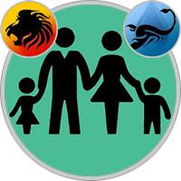 Skorpion-Kind und Löwe-Elternteil