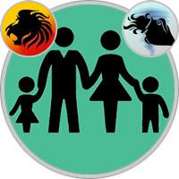 Wassermann-Kind und Löwe-Elternteil