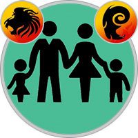 Widder-Kind und Löwe-Elternteil