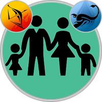 Skorpion-Kind und Schütze-Elternteil