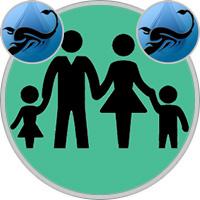 Skorpion-Kind und Skorpion-Elternteil