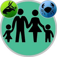Krebs-Kind und Steinbock-Elternteil