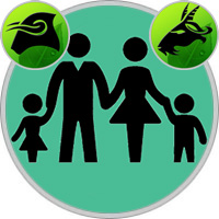 Steinbock-Kind und Stier-Elternteil