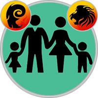 Löwe-Kind und Widder-Elternteil