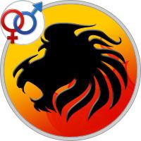 Löwe Frau im Bett